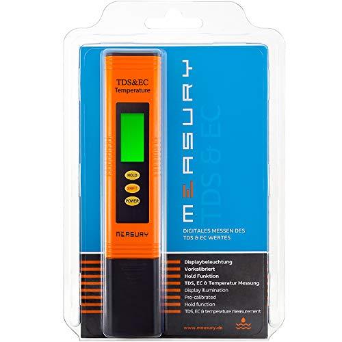 Measury EC Meter Tester TDS Messgerät für Osmoseanlage, Aquarium und Trinkwasser, Leitwertmessgerät mit Thermometer, Leitfähigkeitsmessgerät -