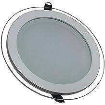 V-TAC 4759 - VT-1881G RD, lampada LED a pannello da montare, in vetro di forma circolare, da 18 Watt, 6000 kelvin, luce bianca fredda da 1620 lumen, fascio di luce da 120°, dimensioni: esterno 198 mm, altezza 40 mm, trasformatore non regolabile incluso