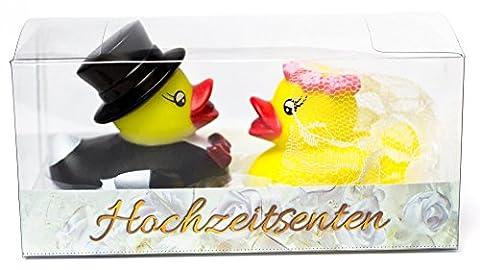 Purovi® Rubber Ducks Bride and Groom | Gift and Cake Decoration | Wedding Bath Gadget