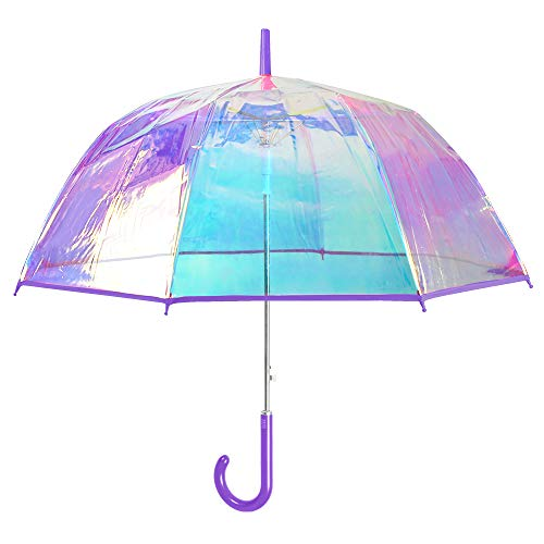 Paraguas Transparente Iridiscente Mujer - Largo Automatico