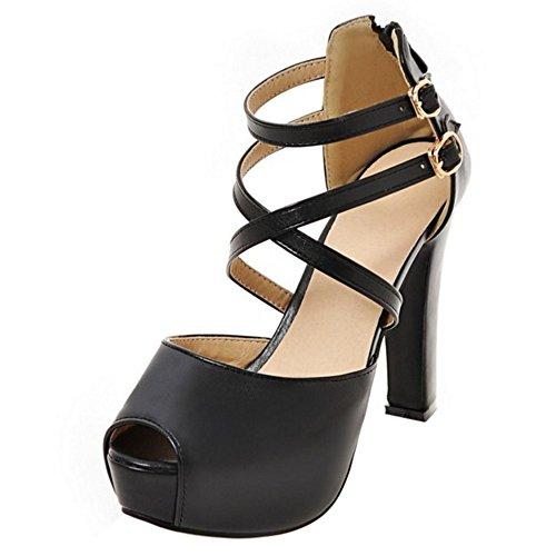 COOLCEPT Femmes Mode Sangle de cheville Sandales Peep Toe Plateforme Bloc Chaussures With Fermeture eclair Noir