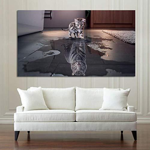 Leinwanddruck mit Katze Tiger Reflexion Persönlichkeit - Kunstdruck Fine Art Geschenk Moderne Poster Quote Leinwandbild Leinwand Print Plakat Bild,35 * 60cm