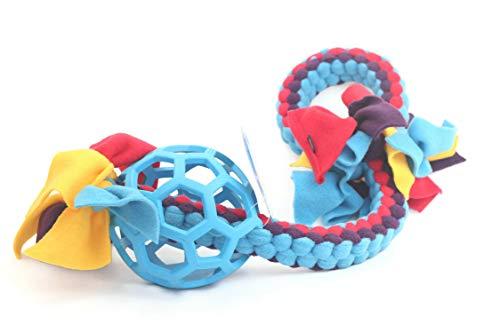 DogDirect London Hundezerr-Spielzeug, aus Fleece mit JW-Ball, Seil-Spielzeug für Welpenspiel und Hundetraining, weich und flexibel, handgefertigt, Größe M, blau (Agility-seile)