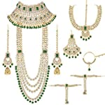 I Jewels Traditional Ethnic Indian Kundan Dulhan Bridal Jewellery Set for Women (BLP020G)