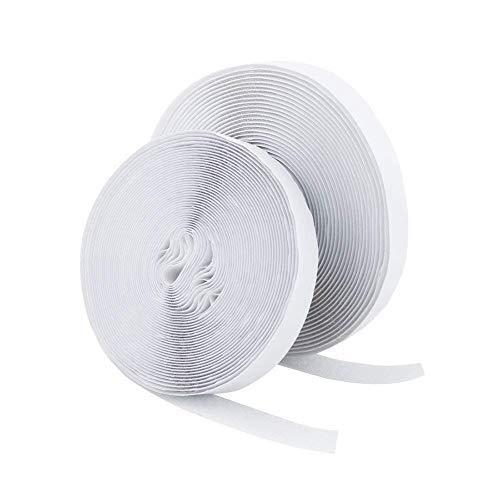 Vicloon velcro strisce laccio adesivo, velcro e ganci 20mm di larghezza 5m di lunghezza, nastro adesivo magnetico incl. una fascetta con fibbia (bianco)