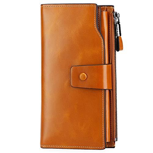 S-ZONE Damen groß Kapazität Luxus echtes Leder Geldbörsen mit Reißverschluss-Tasche (Kamel) -