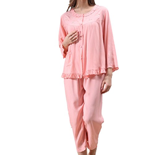 Zhhlinyuan Fashion Two pieces Pyjama Set Comfortable Womens Long Sleeves Nightwear pink