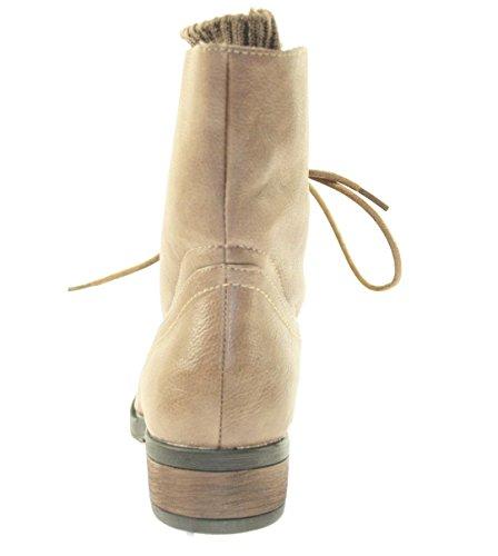 Boots Damenschuhe Farbe Khaki zum Schnüren Khaki