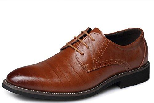 XDGG Scarpe da sposa scarpe di cuoio casuali di cuoio genuino degli uomini di Scarpe di nozze New England in punta di Bullock YELLOW