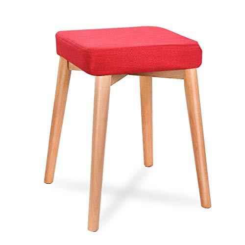SMC Sgabelli Moda Creativo Tessuto in Legno massello casa per Adulti Piccola Panca Tavolo da Pranzo Sgabello Trucco Sgabello Soggiorno Sgabello Quadrato (Color : Red)