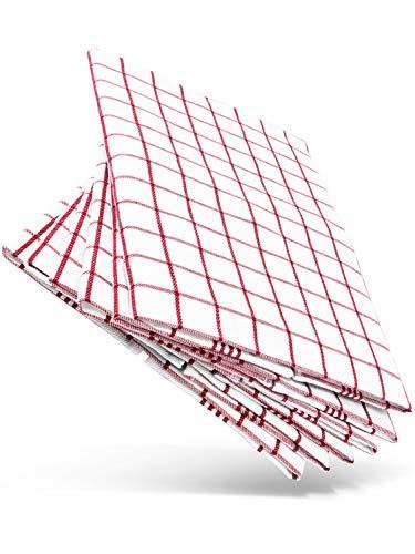 WoldoClean Geschirrtücher aus 100% Baumwolle 6 Stück rot - saugstark und fusselfrei (Baumwoll-geschirrtücher Rot)