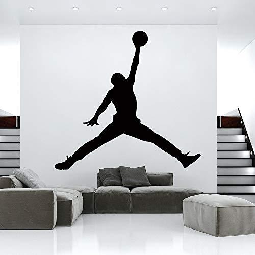 Hot Jordan basketball vinyl wandaufkleber tapete für kinderzimmer schlafzimmer dekor wandbild gym raumdekoration zubehör wandsticker schwarz m 20 cm x 19 cm