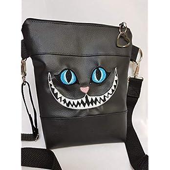 Kleine Handtasche Grinsekatze schwarz Umhängetasche Halloween Tasche mit Anhänger Kunstleder