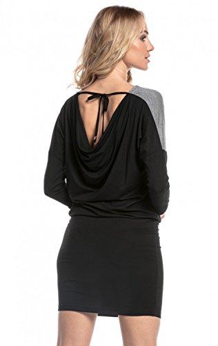 Happy Mama. Mujer Vestido Premamá Lactancia Paneles Contraste Espalda Lazo. 225p (Negro, EU 42, XL)
