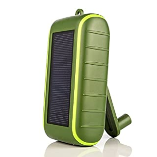 Solar Charger , CXYP 5400 mAh Hand Crank Solar Power Bank with Solar Panels-Dual USB Outdoor Portable External Battery with LED Light for iPhone6s/7 /8 Plus,iPad,Samsung Galaxy Android telephone (Green)