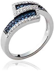 ISADY - Clarin - Bague Femme - Argent 925 - Oxyde de zirconium transparent et bleu