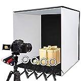 SAMTIAN Fotostudio 60x60x60cm, faltbar Fotobox Lichtzelt mit 4 Ringlichtern, 5 Stativen und 4 farbigen Hintergründen (rot, schwarz, weiß, blau)