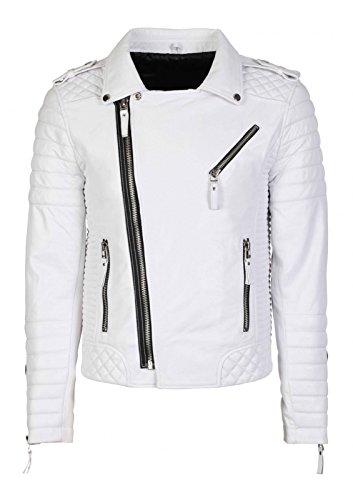 Hollywood Jacket Herren Diamond Real Motorrad Lederjacke XS- geeignet für 37-38 Zoll Brust Weiß