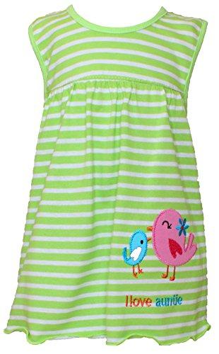 Sommer SALE! Sommerkleid | Shirt-Kleid Pincess Taufkleid Modell 10 grün gestreift mit Vogelpaar
