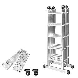 ausziehbar tragbar vielseitig zusammenklappbar Mehrzweck-Leiter f/ür alle Bed/ürfnisse 3.8/m Doppel-Leiter