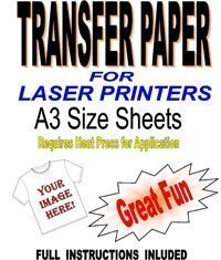 Laser & Kopierer Herren T Shirt & Stoff Transferpapier für Inkjets 5 A3 Blätter -