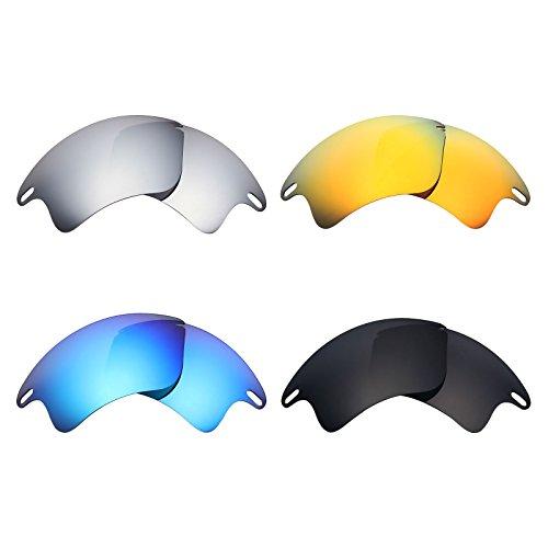 MRY 4Paar Polarisierte Ersatz Gläser für Oakley Fast Jacket XL sunglasses-stealth schwarz/fire rot/ice blau/silber titan
