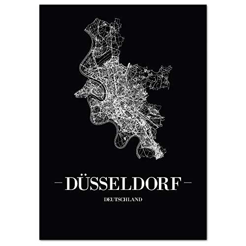 JUNIWORDS Stadtposter, Düsseldorf, Wähle eine Größe, 60 x 90 cm, Poster, Schrift A, Schwarz