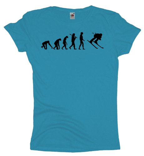 Ma2ca - Evolution - Skifahrer Ski - Damen Girlie T-Shirt Skyblue