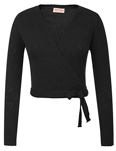 Belle Poque Femmes Vintage Élégant Manches Longues Cropped Longueur Cardigan Tricots Noir (741-1) XX-Large