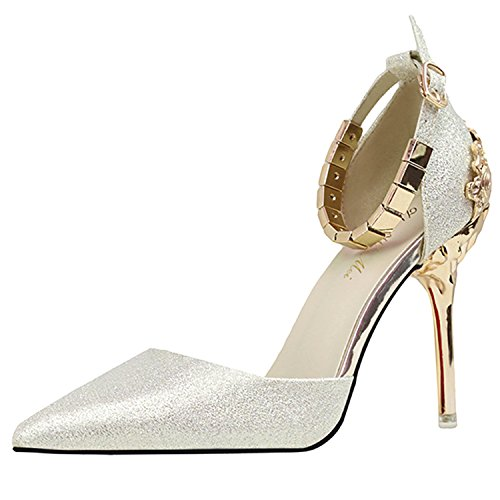 Oasap Women's Fashion Pointed Toe Ankle Strap High Heels Pumps Golden