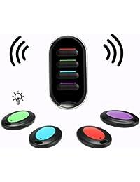 Localisateur d'Objets, Hizek Localisateur de clé sans flis Key Finder Anti-perte Smart Clé Chercheur avec LED 4 récepteurs --Noir