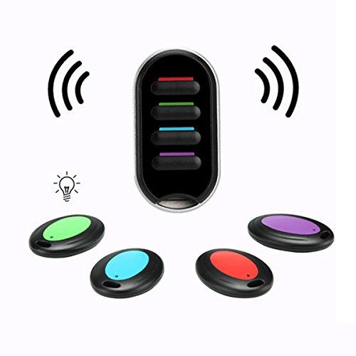 Localisateur de Clé, Hizek Localisateur d'Objets sans Fil Key Finder Anti-Perte Smart Clé Chercheur avec LED 4 Récepteurs --Noir
