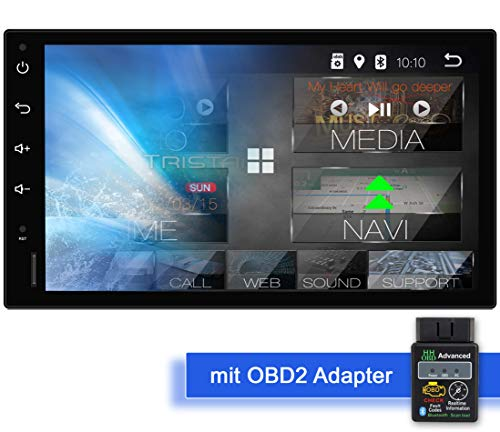 Tristan Auron BT2D7018A Android 9.0 Autoradio mit Navi + OBD 2 Adapter I 7\'\' Touchscreen Bildschirm I Bluetooth Freisprecheinrichtung I Quad Core USB/SD DAB+ - 2 DIN