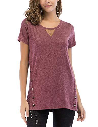 FeelinGirl Mujer Camisetas Mangas Cortas Tops Suelto Algodón Verano Blusa Casual Rojo M