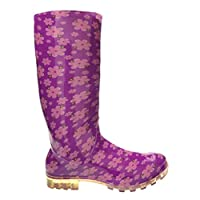P349 Purple With Pink Flowers Funky Womens Ladies Girls Wellies Wellie Boots Rain Snow Sizes 3, 4, 5, 6, 6.5 & 7 Bestival, Reading & V Festival *UK SELLER*