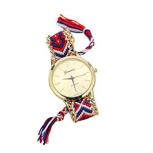 Soul Sisters Handmade Reloj de pulsera hippie boho Style Rojo Azul Trenzado