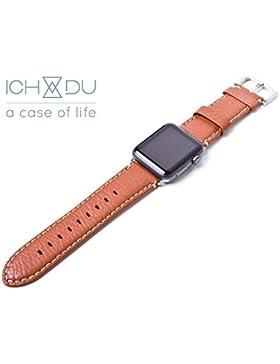 Apple Watch Armband 42mm aus Echtleder (Series 1 / Series 2), Lederarmband mit Edelstahlschließe und passendem...