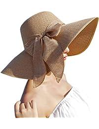 LANSKRLSP Ampio Cappello di Estate delle Signore del Cappello di Paglia  della Protezione della Spiaggia Pieghevole Tesa Grande… c376bd815e50