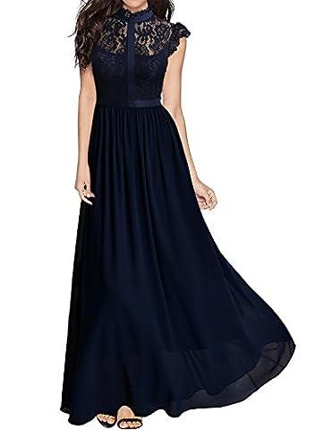 Miusol Damen Elegant Spitzen Abendkleid Brautjungfer Cocktailkleid Chiffon Faltenrock Langes Kleid Dunkelblau