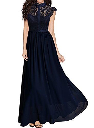 Miusol Damen Elegant Spitzen Abendkleid Brautjungfer Cocktailkleid Chiffon Faltenrock Langes Kleid Dunkelblau Gr.M (Lange Empire Kleid)