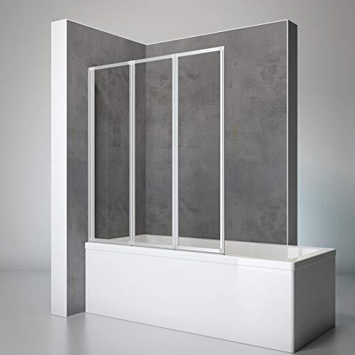 Schulte Duschwand Well, 127 x 140 cm, 3-teilig faltbar, 3 mm Sicherheits-Glas klar, alu-natur, Dusch-Abtrennung für Wanne
