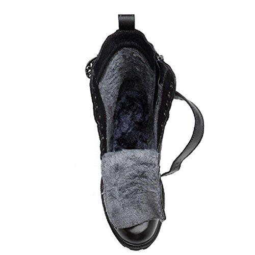 Uomo Inverno Plus cashmere Stivali Martin Tenere caldo Scarpe alte Tempo libero Scarpe di pelle Stivali da neve euro DIMENSIONE 38-45 Black