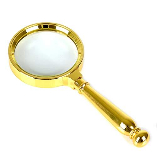 Lupe 30-fache Lesung Lupe, Vergrößerungsspiegel, optische tragbare Lupe, abnehmbare Linsenschmuck-Lupe, Uhr, elektronische Reparatur,Gold-18 * 8cm