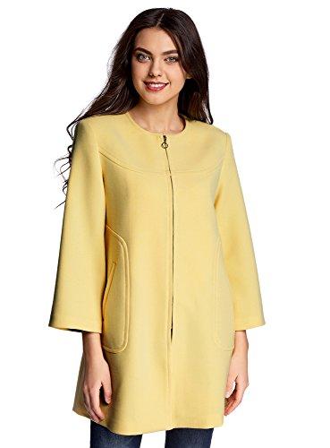 oodji Ultra Damen A-Linie-Mantel mit Reißverschluss Gelb (5200N)