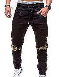 SOMTHRON Hombre Cinturón de cintura elástico Pantalones de chándal de  algodón largo Jogging Pantalones de carga da685c413c81