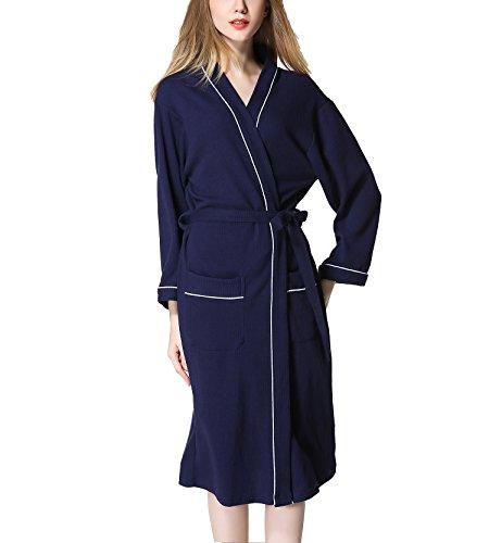 Navy Baumwolle Pyjama (Asskyus Damen- und Herren Bademantel Waffel, Unisex Baumwolle Morgenmantel Nachtwäsche Pyjamas (L, Navy blau))