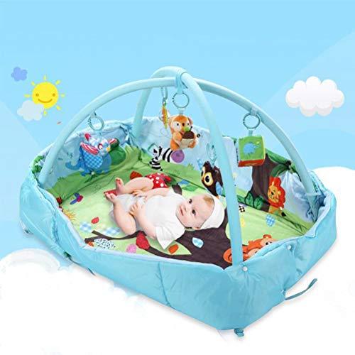 RUG ZI LING Shop- Platz Bett Baby Spieldecke Halterung Kriechende Matte Baby Fitness Rahmen Lernspielzeug (125x95x50 cm) (Farbe : Blau)