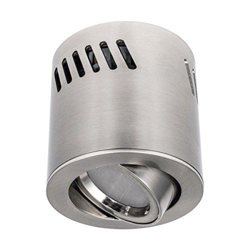 Deckenaufbaustrahler / Aufbauleuchte / Aufputz Deckenleuchte / schwenkbar / Aluminium / GU10-230V (RUND-123381) (Ohne Leuchtmittel)