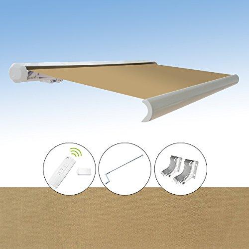 Markise elektrische Kassettenmarkise Gelenkarm Vollkassettenmarkise 3,5x3 m, Markisentuchfarbe:A1010-1 / Sand