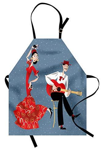 Soefipok Tanzschürze, spanisches Künstlerpaar Flamenco-Tänzerin und der Gitarrist Mann in Kostümen-Print, Unisex-Küchenschürze mit verstellbarem Hals zum Kochen Backen Gartenarbeit, Multicolor (Flamenco Tänzerin Kostüm Männer)